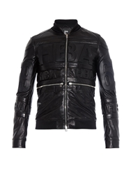 Hood By Air Hockey Logo Embossed Leather Jacket