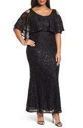 Marina Plus Size Women's Sequin Lace Cold Shoulder Long Dress