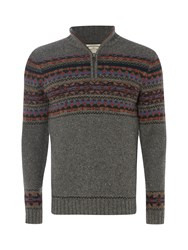 White Stuff Men's Rocard Fairisle Funnel Knit Grey