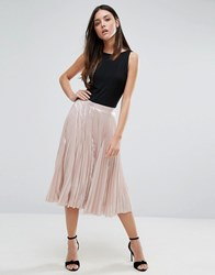 Warehouse Pleated Lame Skirt Pink