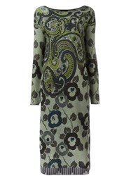Etro Floral Paisley Knit Dress Green