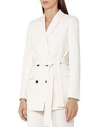Reiss Angie Belted Jacket Off White