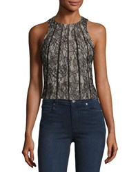 Haute Hippie Sleeveless Paneled Lace Crop Top Black Black Lace