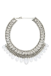 Forever 21 Curb Chain Teardrop Necklace B.Silver White
