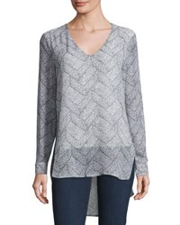 Joan Vass Long Sleeve V Neck Blouse Brick