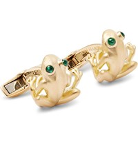 Deakin And Francis 18 Karat Gold Emerald Cufflinks Gold