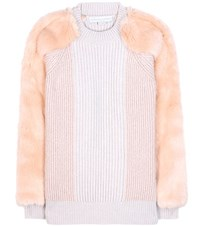 Stella Mccartney Virgin Wool Sweater With Faux Fur Beige