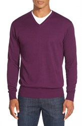 Men's Peter Millar Silk Blend V Neck Sweater Cabernet
