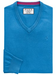 Thomas Pink Horseley V Neck Jumper Teal