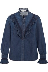 Stella Mccartney Lace Trimmed Ruffled Denim Shirt Mid Denim