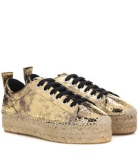 Mcq By Alexander Mcqueen Platform Espadrille Leather Sneakers Gold
