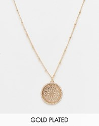 Ny Lon Nylon Gold Plated Filigree Disc Pendant Necklace Gold Plated