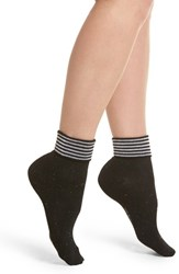 Richer Poorer Tina Foldover Ankle Socks Black