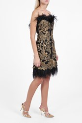 Marchesa Couture Women S Feather Satin Dress Boutique1 Black
