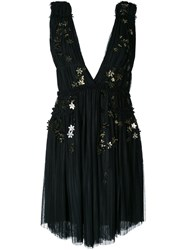 Jay Ahr Gold Tone Flower Applique Dress Black