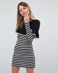 Fashion Union Frill And Stripe Bodycon Dress Black And White