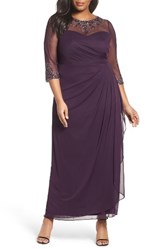 Xscape Evenings Plus Size Women's Embellished Illusion Gown