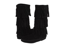 Minnetonka Calf Hi 3 Layer Fringe Boot Black Suede Women's Pull On Boots