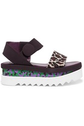 Stella Mccartney Printed Rubber Platform Sandals Purple