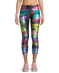 Terez Paint Swatch Performance Capri Leggings Multi Pattern