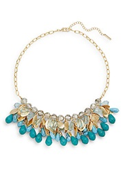 Saks Fifth Avenue Beaded Hammered Disc Collar Necklace Gold Blue