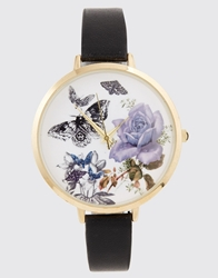 Asos Butterfly And Flower Large Face Print Black