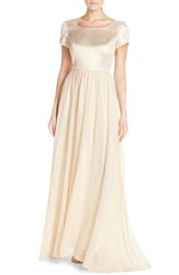 Paper Crown Women's By Lauren Conrad 'Marcella' Shimmer Bodice Gown Vintage Gold Cream Chiffon