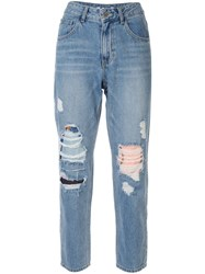 Sjyp Ripped Mom Fit Jeans Blue