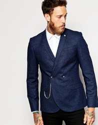 Noose And Monkey Double Breasted Blazer With Silver Chain In Skinny Fit Navy