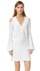 Derek Lam Bell Sleeve V Neck Dress Silk White