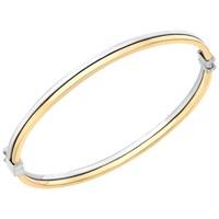 Ibb 9Ct Two Colour Gold Double Tube Bangle Rose Gold White Gold