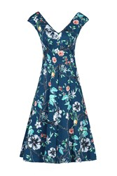 Jolie Moi Floral Print Sweetheart Neck Dress Teal