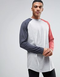 Asos Super Longline Long Sleeve T Shirt With Contrast Raglan And Curved Hem Grey Red Navy