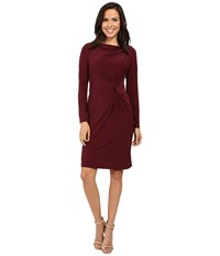 Adrianna Papell Long Sleeve Front Knot Draped Dress Bordeaux Women's Dress Burgundy