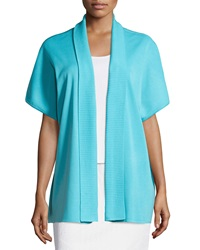 Ming Wang Open Front Short Sleeve Dolman Jacket Ocean