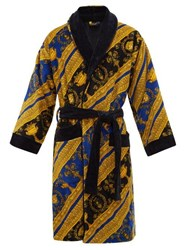 Versace I Love Baroque Printed Cotton Bathrobe Blue Gold