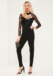 Missguided Black Harness Lace Long Sleeve Jumpsuit
