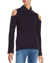 Elie Tahari Cashmere Cold Shoulder Sweater Aubergine