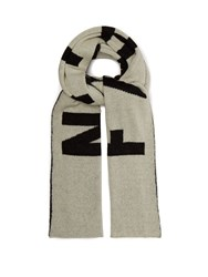 Faith Connexion Logo Intarsia Mohair Blend Scarf White