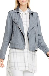 Vince Camuto Women's Two By Drapey Linen Moto Jacket Light Iron