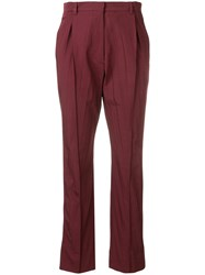 Valentino Cropped Pleated Trousers Red