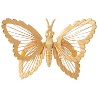 Susan Caplan Vintage Monet Gold Plated Butterfly Brooch Gold