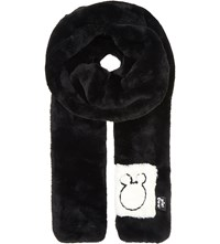 Mini Cream Faux Fur Scarf Black