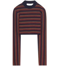 Victoria Beckham Striped Virgin Wool Blend Cropped Sweater Multicoloured