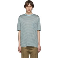 Lanvin Green Striped Embroidered Logo T Shirt
