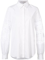 Carolina Herrera Floral Crochet Shirt White