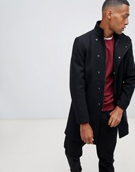 Only And Sons Funnel Neck Overcoat Black