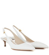 Prada Patent Leather Slingback Pumps White