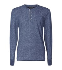 Tom Ford Henley Melange Tee Male Blue