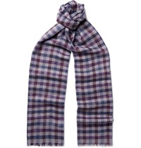 Loro Piana Checked Cashmere And Silk Blend Scarf Gray